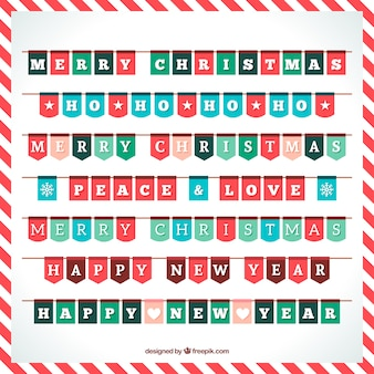Pack of christmas pennants with different shapes