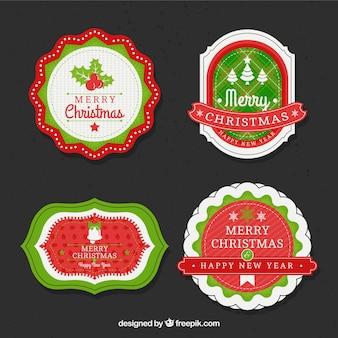 빈티지 스타일의 크리스마스 스티커 팩