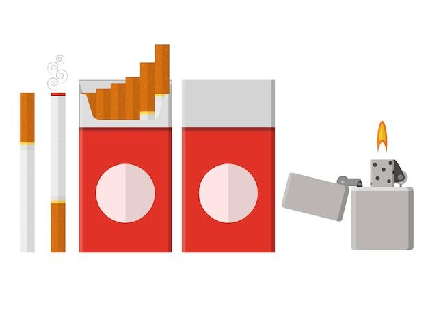 담배 팩입니다. 플랫 스타일. 라이터. 니코틴 의존. 탐닉. 빨간색 포장입니다. 건강에 해로운 습관. 벡터 일러스트 레이 션.
