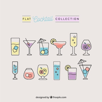 Pack of cocktails in linear design