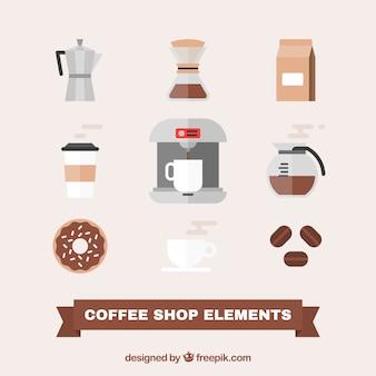 평면 디자인의 커피 액세서리 팩