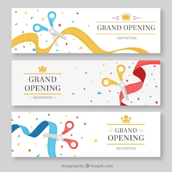 Pack of color opening ribbon banners