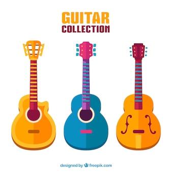 Комплект цветных акустических гитар