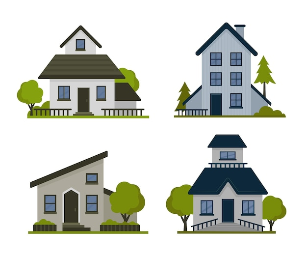 Пакет красочных разных домов