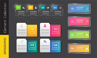 Pack of colorful infographics template design