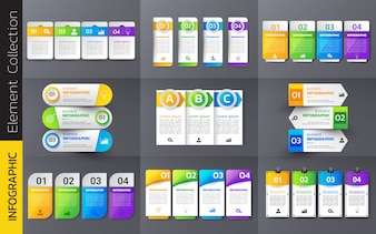 Pack of colorful infographics template design.