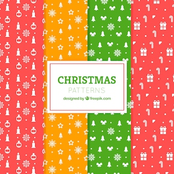 Pack of colorful patterns with christmas accessories