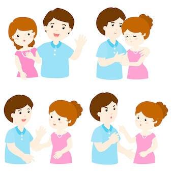 Pack of couple character cartoon