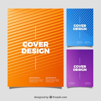 Pack of covers with abstract lines