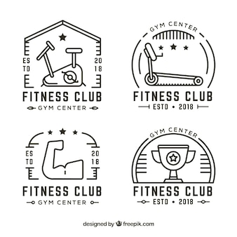 Pack of creative vintage fitness labels