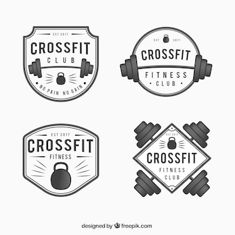 Pack of crossfit stickers in vintage style