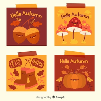 귀여운 가을 카드 팩