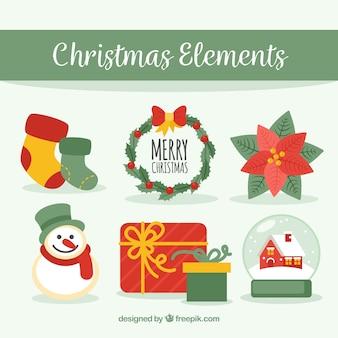 귀여운 크리스마스 요소 팩
