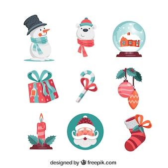 Набор милых элементов рождества