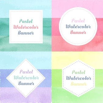 Pack of Cute colorful rainbows pastel vintage banner watercolor style
