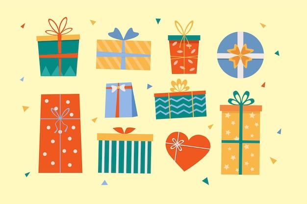 Пакет милых подарочных коробок в плоском дизайне
