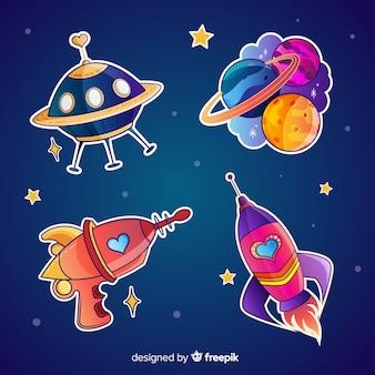 Пакет милых иллюстрированных космических стикеров