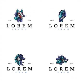 サイバーオオカミのロゴのテンプレートのパック