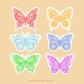 装飾的な蝶のステッカーのパック