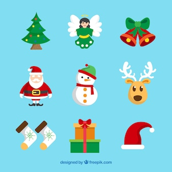 Pack of decorative christmas elements in flat design