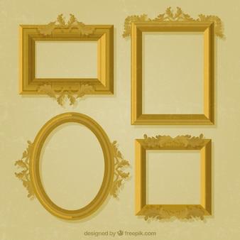 装飾的な金色のフレームのパック