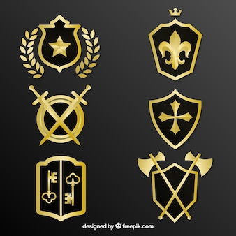 Pack of decorative golden shields