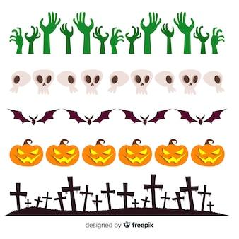 Пакет декоративных границ хэллоуина в плоском дизайне