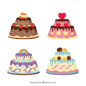 Pack of delicious birthday cakes