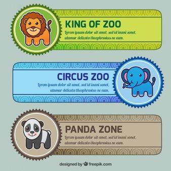 フラットデザインのdiferent動物園のバナーのパック