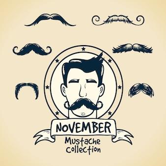 Movember를 축하하기 위해 다른 수염의 팩