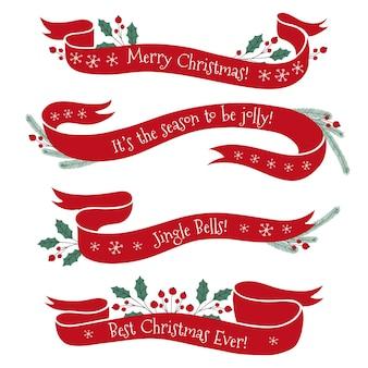 Пакет нарисованных рождественских лент