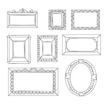 Пакет нарисованных элегантных декоративных рамок