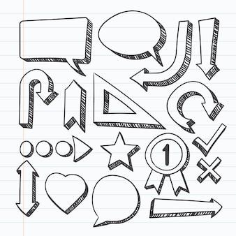 Пакет нарисованных школьных инфографических элементов