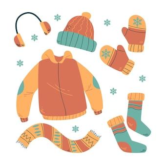 그려진 겨울 옷 팩