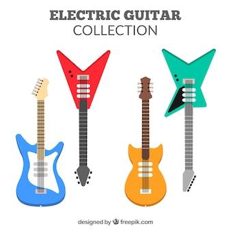 Пакет электрогитар с четырьмя различными цветами и дизайном