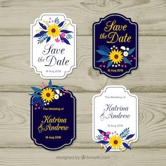 Pack of elegant wedding badges