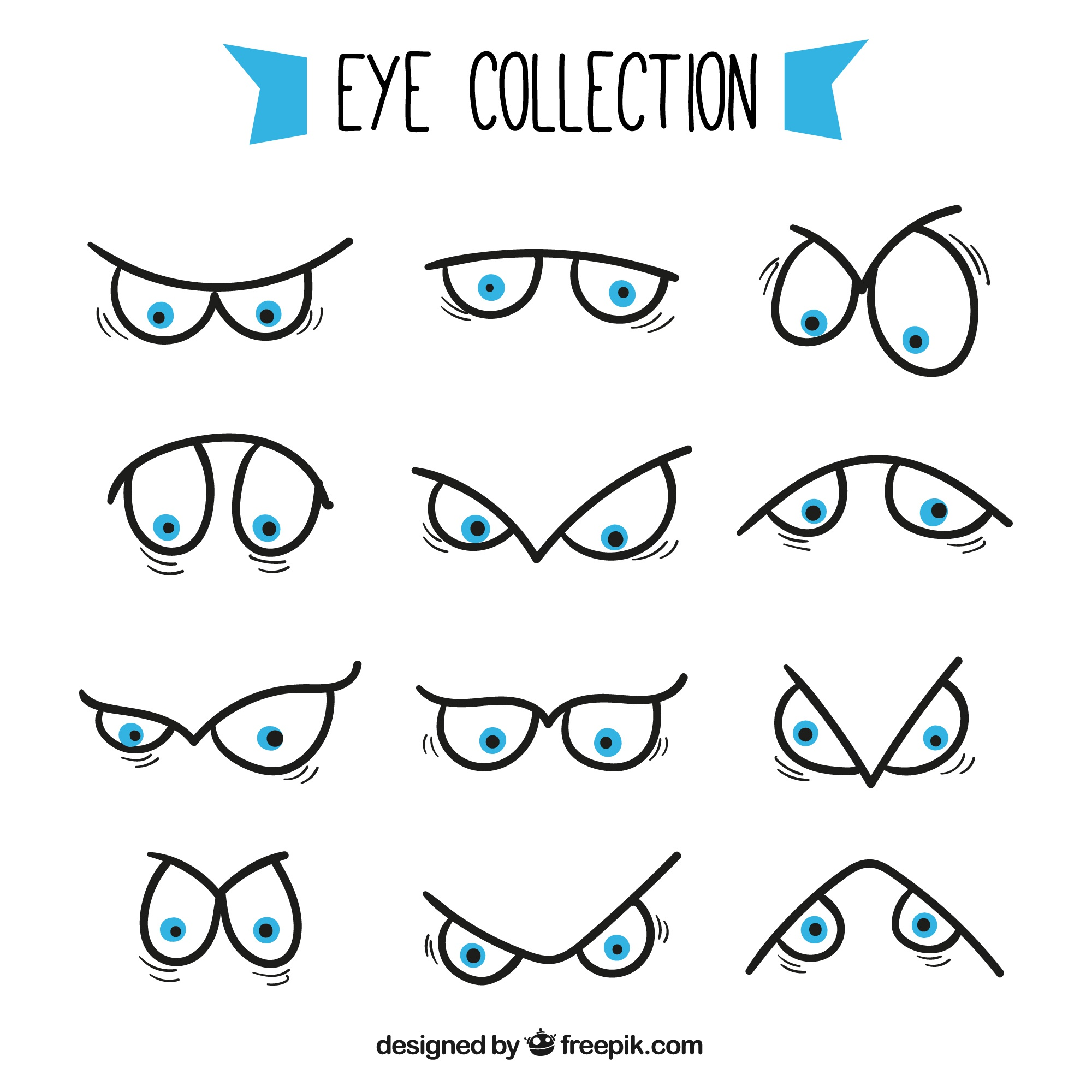 Pack of eyes with different expressions