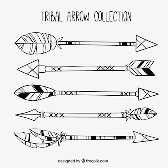 Pack of five ancient arrows with feathers