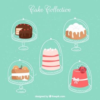 5つのケーキのパック