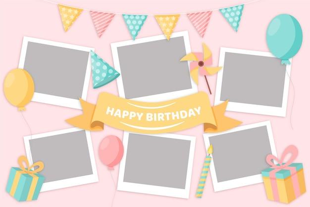 Пакет плоской рамки коллажа дня рождения