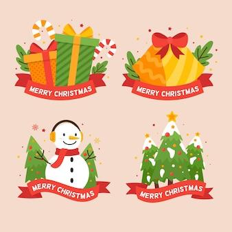 Пакет плоских рождественских значков