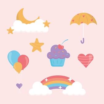 Пакет плоских элементов декора chuva de amor