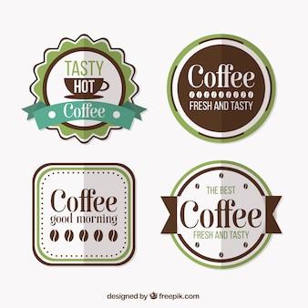 フラットなデザインのフラットなコーヒーショップのパック