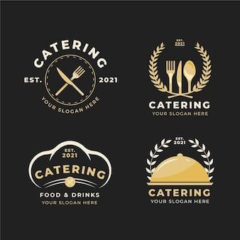 Пакет плоских логотипов кейтеринга