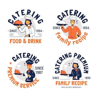 フラットなデザインのケータリングロゴのパック