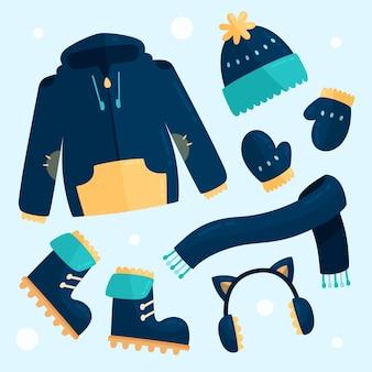 평면 디자인 아늑한 겨울 옷 팩