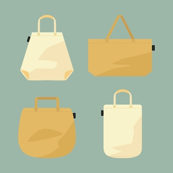 フラットデザインのファブリックバッグのパック