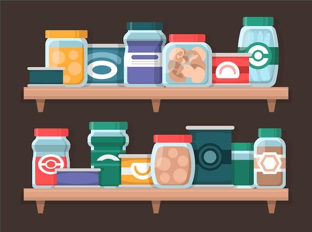 さまざまな食品を含むフラットデザインのパントリーのパック