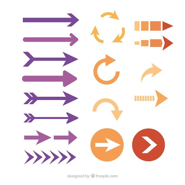 フラット異なる矢印のパック