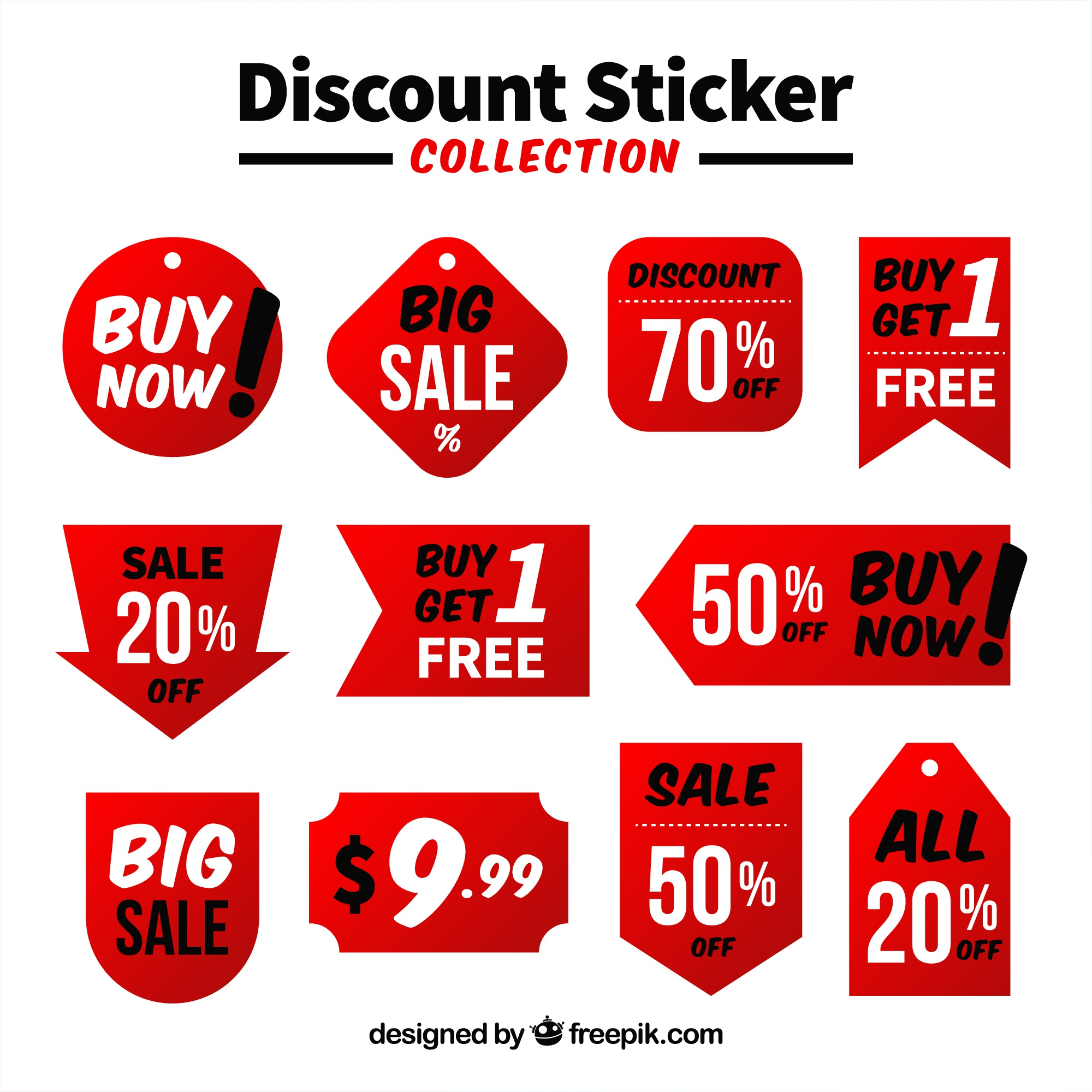 Pack of flat discount stickers